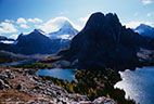 Cerulean and Sunburst Lakes, Sunburst Peak, and Mount Assiniboine.