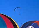 Balloons form foreground for powered paraglider.