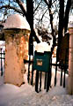 Snow scene with mailbox at the entrance of Sukhanovo, the former estate of the Volkhonsky Princes.
